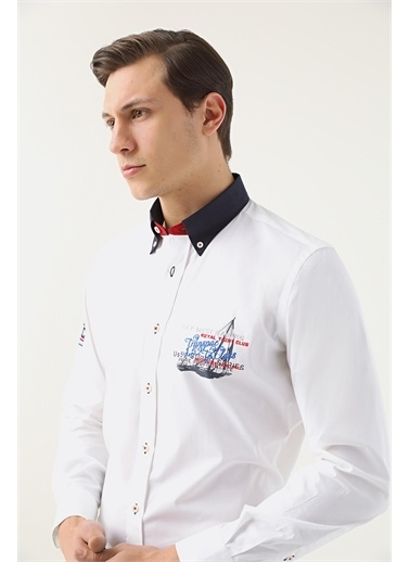 D'S Damat Ds Damat Regular Fit Beyaz Gömlek Beyaz